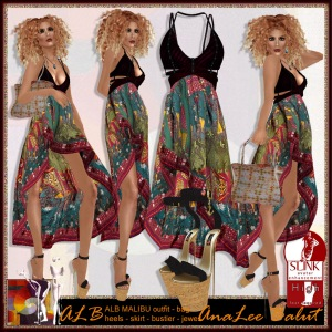 ALB MALIBU outfit - heel - skirt - bustier - bag - jewels