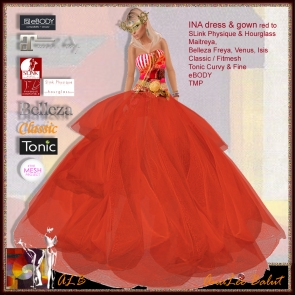 ALB INA dress & gown red - SLink Maitreya Belleza TMP